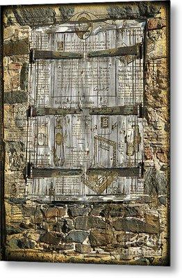 In The News Vintage Hay Barn Door Metal Print by Heinz G Mielke