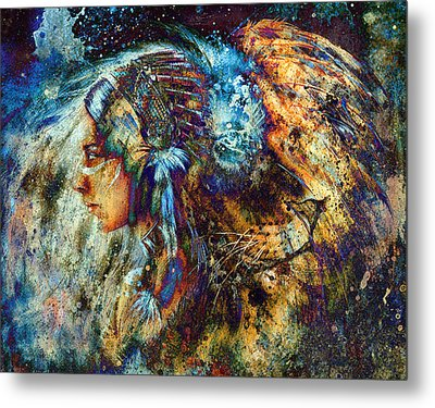 Indian Woman Wearing  Feather Headdress With Lion And Abstract Color Collage. Metal Print by Jozef Klopacka