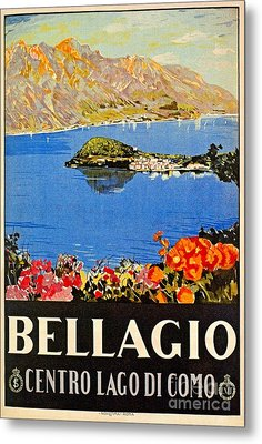 Italy Bellagio Lake Como Vintage Italian Travel Advert Metal Print by Heidi De Leeuw