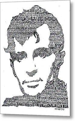 Jack Kerouac Black And White Word Portrait Metal Print by Kato Smock