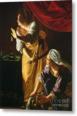 Judith And Maidservant With The Head Of Holofernes Metal Print