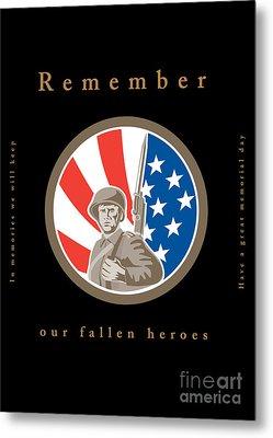 Memorial Day Greeting Card American Wwii Soldier Flag Metal Print