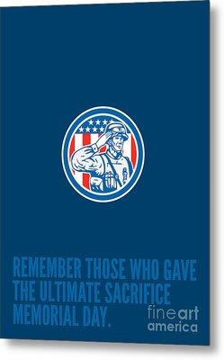 Memorial Day Greeting Card Soldier Military Salute Circle  Metal Print