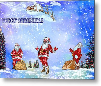 Metal Print featuring the painting  Merry Christmas To My Friends In The Faa by Andrzej Szczerski