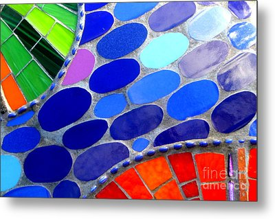 Mosaic Abstract Of The Blue Green Red Orange Stones Metal Print