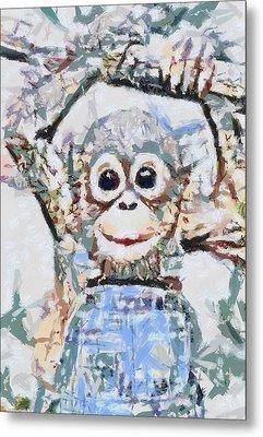 Monkey Rainbow Splattered Fragmented Blue Metal Print