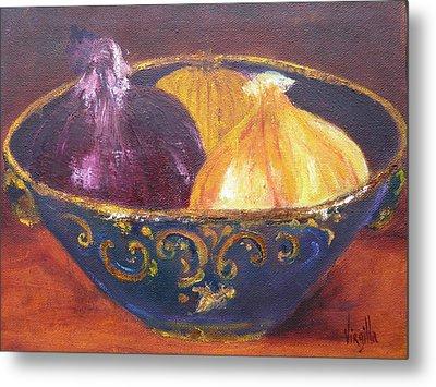 Onion Paintings - Rustic Bowl With Onions Virgilla Art Metal Print by Virgilla Lammons