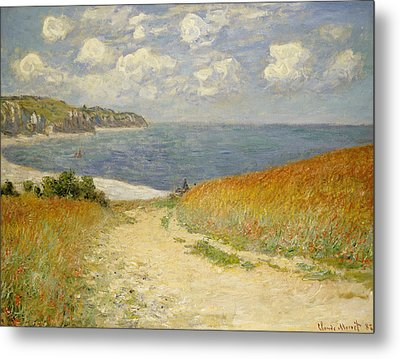 Path In The Wheat At Pourville Metal Print by Claude Monet