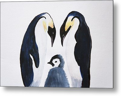 Penguins With Chick  Metal Print