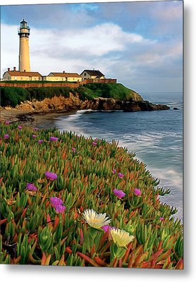 Pigeon Point Lighthouse With Spring Wildflowers Metal Print by George Oze