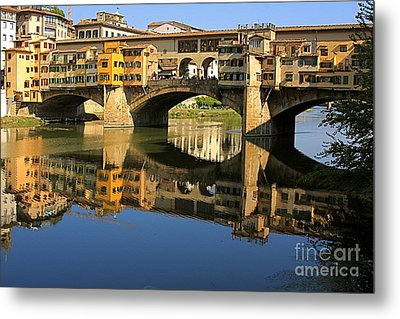 Ponte Vecchio Reflection Metal Print by Nicola Fiscarelli