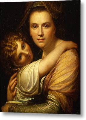 Portrait Of The Artists Wife And Daughter  Metal Print