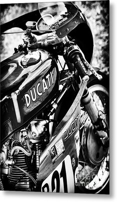 Racing Ducati Monochrome Metal Print by Tim Gainey