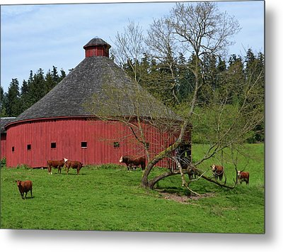 Round Red Barn Metal Print