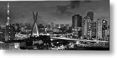 Sao Paulo Iconic Skyline - Cable-stayed Bridge - Ponte Estaiada Metal Print