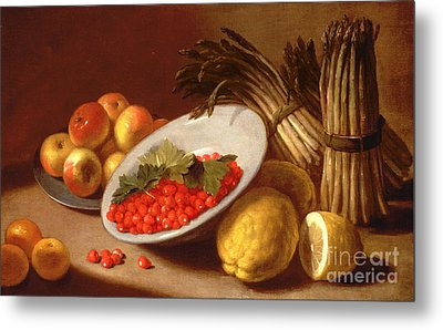 Still Life Of Raspberries Lemons And Asparagus  Metal Print