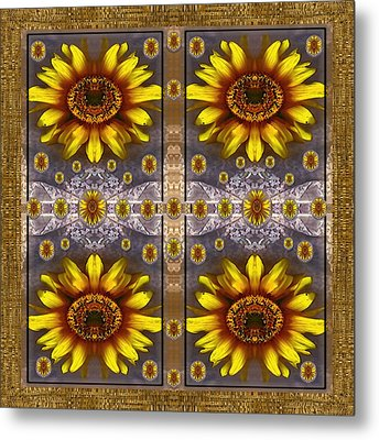 Sunflower Fields On Lace Forever Pop Art Metal Print by Pepita Selles