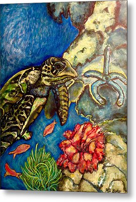 Sweet Mystery Of The Sea A Hawksbill Sea Turtle Coasting In The Coral Reefs Original Metal Print