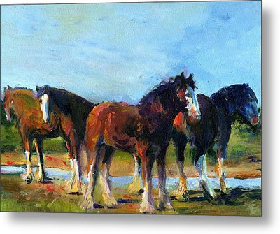 The Four Clydesdales  Metal Print by Kathy Dueker