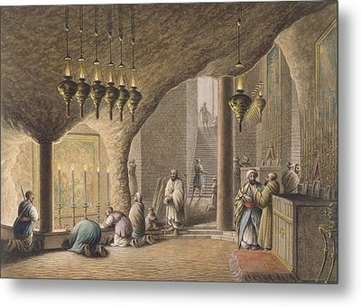 The Grotto Of The Nativity In Bethlehem Metal Print by Luigi Mayer