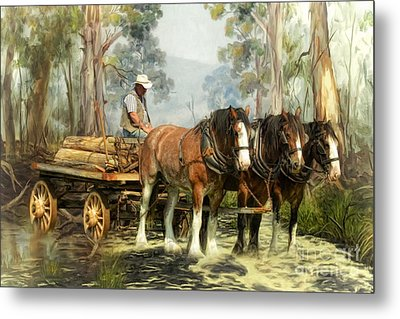 Metal Print featuring the digital art  The Timber Team by Trudi Simmonds