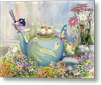 Metal Print featuring the digital art  Tiny Tea Party by Trudi Simmonds
