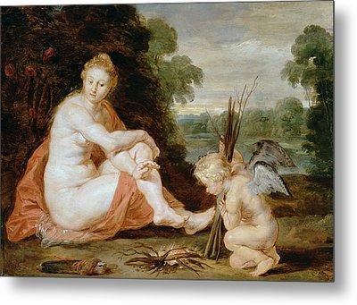 Venus And Cupid Warming Themselves  Metal Print