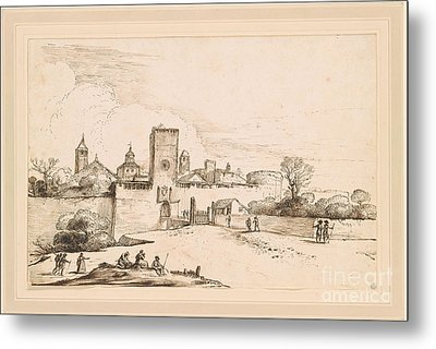 View Of A Walled Town Metal Print by MotionAge Designs