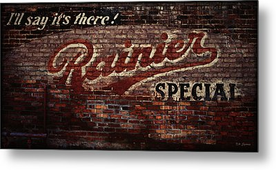 Vintage Rainier Sign Metal Print by DMSprouse Art
