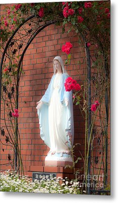 Metal Print featuring the photograph  Virgin Mary With Roses by Aiolos Greek Collections