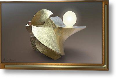 ' Wavy Cut Sculpture Light ' Metal Print