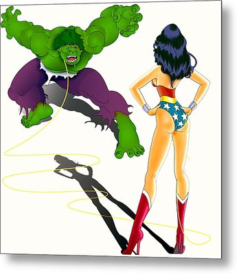 Metal Print featuring the painting  Wonder Woman Vs Hulk by Lynn Rider