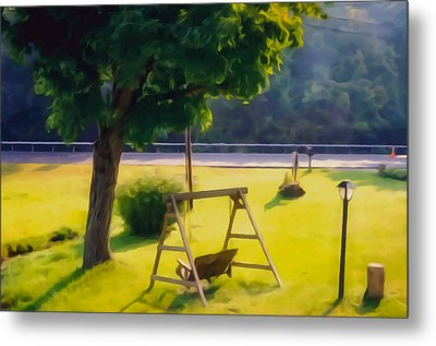 Wooden Swing In The Garden Metal Print by Lanjee Chee
