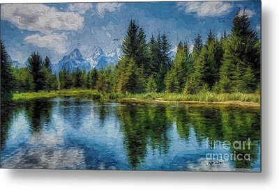 Wyoming Tetons Spruce Mountain Lake. Oil Painting . Metal Print by Heinz G Mielke