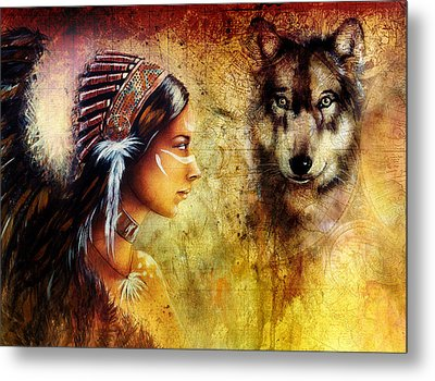 Young Indian Woman Wearing  With  Wolf And Feather Headdress Metal Print by Jozef Klopacka