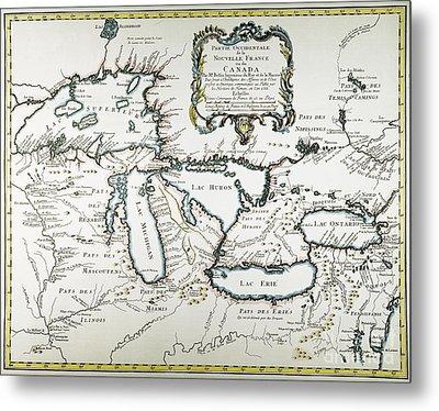Great Lakes Map, 1755 Metal Print by Granger