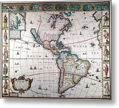 New World Map, 1616 Metal Print