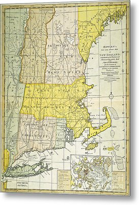 New England Map, C1775 Metal Print by Granger