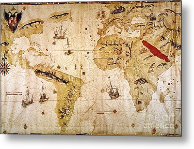 Vespucci's World Map, 1526 Metal Print by Granger