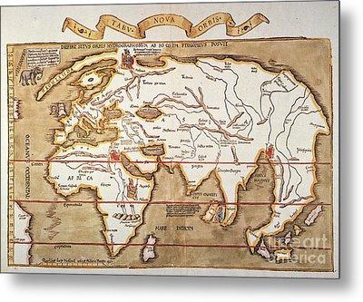 Waldseemuller: World Map Metal Print by Granger