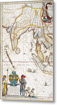 South Asia Map, 1662 Metal Print by Granger
