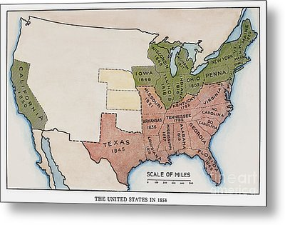 United States Map, 1854 Metal Print by Granger