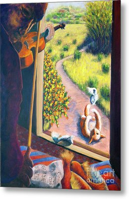 01349 The Cat And The Fiddle Metal Print by AnneKarin Glass