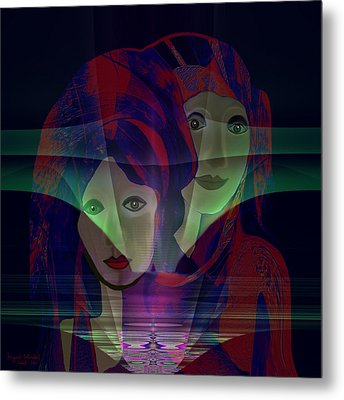 036 - Two Faces Of  Night  Metal Print by Irmgard Schoendorf Welch