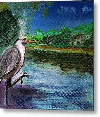 071115 Blue Heron Pastel Sketch Metal Print by Garland Oldham