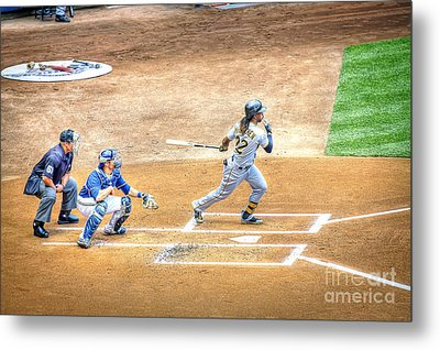 0990 Base Hit - Mccutchen Metal Print