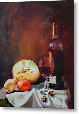 Still Life With Wine Metal Print by Rose Sciberras