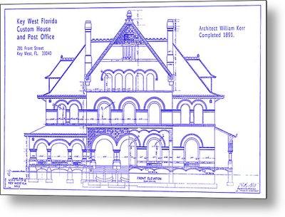 1891 Key West Custom House Blueprint Metal Print by Jon Neidert