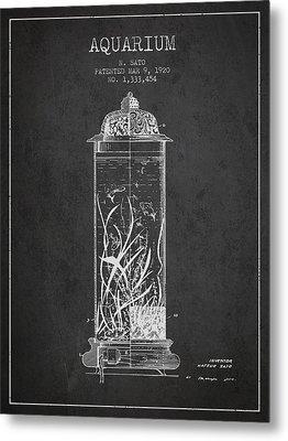 1902 Aquarium Patent - Charcoal Metal Print