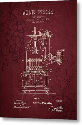 1903 Wine Press Patent - Red Wine Metal Print by Aged Pixel